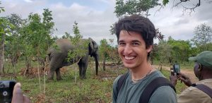 Young man standing feet away from elephant in Ghana